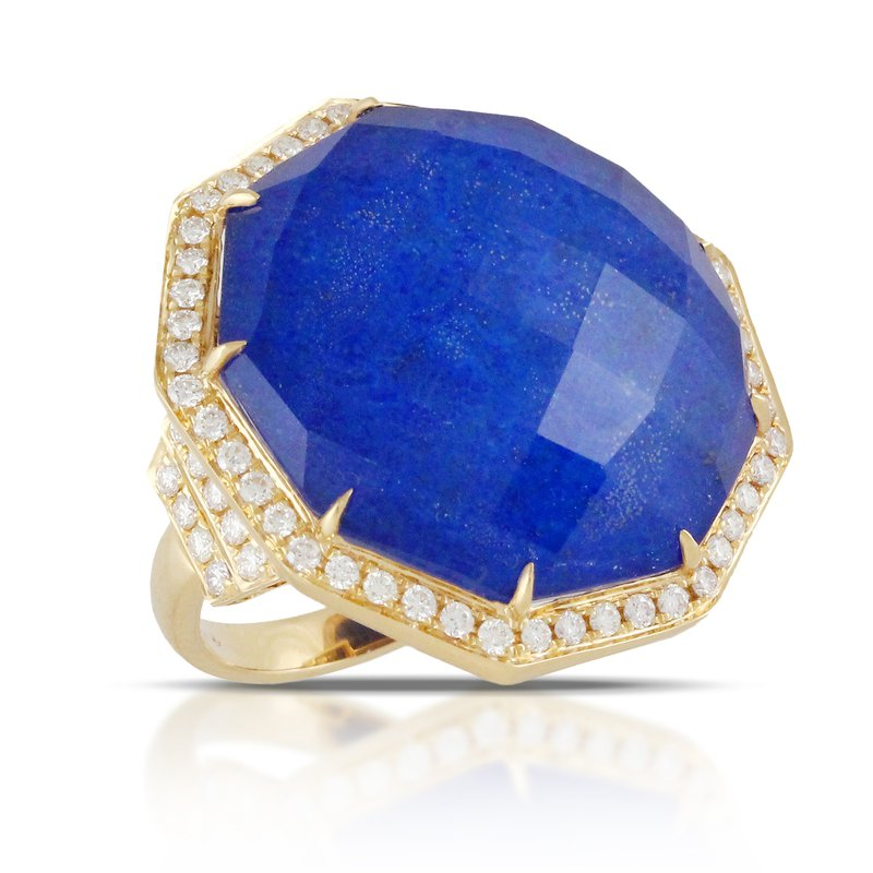 Doves Royal Lapis Diamond Halo Ring