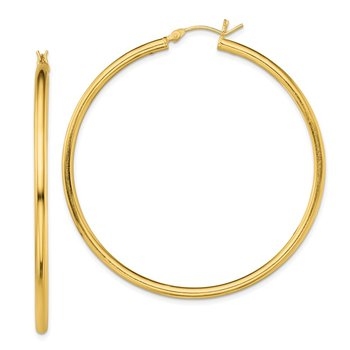 Sterling Silver Gold-Tone Polished 2.5x55mm Hoop Earrings