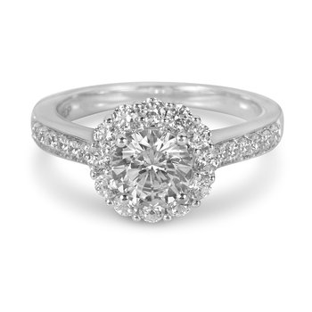 14K WG Diamond Round Halo Engagement Ring in Prong Setting for Mounting of 1.00  cts Center Diamond