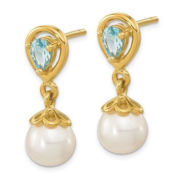 14K 6-7mm FWC Pearl Light Swiss Blue Topaz Dangle Post Earrings