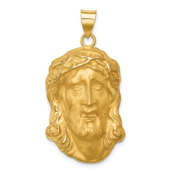 14k Hollow Polished/Satin Large Jesus Medal