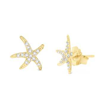 14K Gold and Diamond Starfish Earrings
