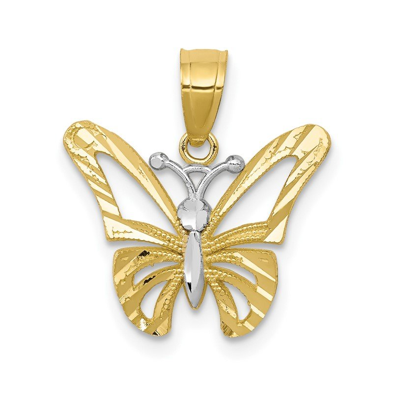Quality Gold 10K w/ Rhodium Butterfly Pendant