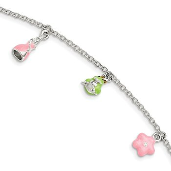 SS Children's Enameled Princess/Frog/Flower 5.5in Plus 1.5in ext. Bracelet