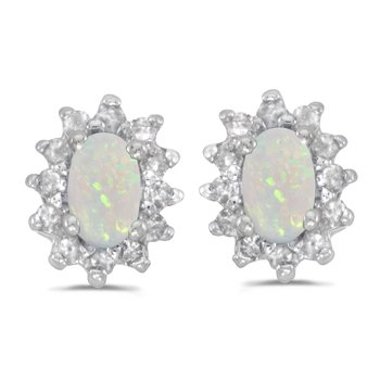 10k White Gold Oval Opal And Diamond Earrings