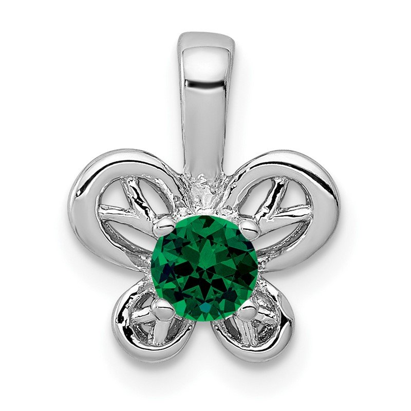 Quality Gold Sterling Silver Rhodium-plated Created Emerald Pendant