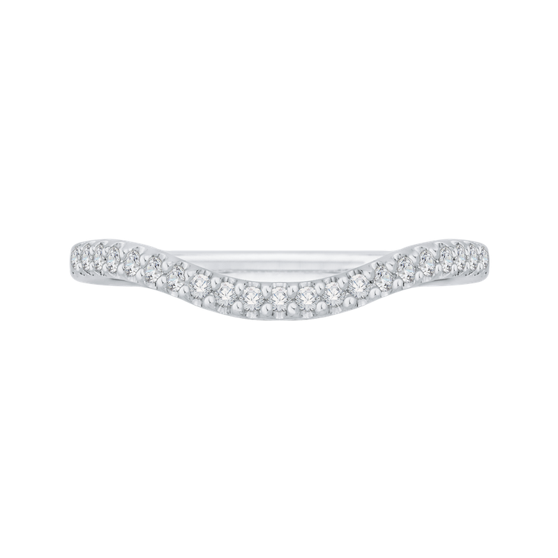 Carizza 14K White Gold Diamond Wedding Band with Euro Shank
