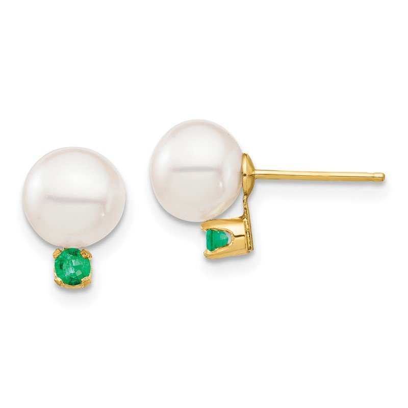 Quality Gold 14K 7-7.5mm White Round Freshwater Cultured Pearl Emerald Post Earrings