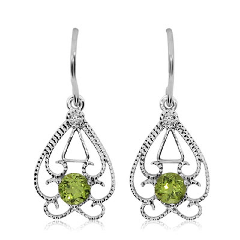 Color Merchants 14k White Gold Round  Open Filigree Peridot And Diamond Earrings