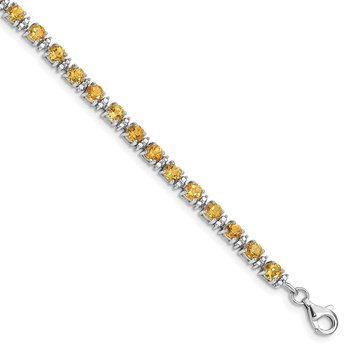 Sterling Silver Rhodium-plated Citrine and Diamond Bracelet