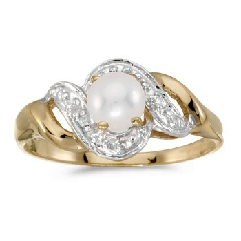 10k Yellow Gold Pearl And Diamond Swirl Ring