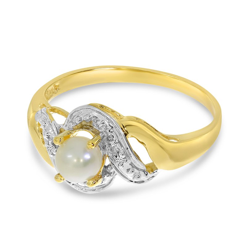 Color Merchants 10k Yellow Gold Freshwater Cultured Pearl And Diamond Swirl Ring