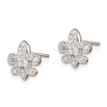 Sterling Silver Rhodium 0.16ct Diam. Fleur de Lis Post Earrings
