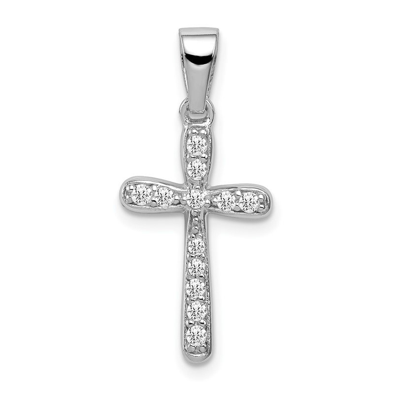 Quality Gold Sterling Silver Rhodium Plated CZ Cross Pendant