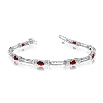 10k White Gold Natural Garnet And Diamond Tennis Bracelet