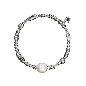 Honora Sterling Silver 9-9.5mm Ringed White Freshwater Cultured Pearl Rhodium Bead Stretch Bracelet