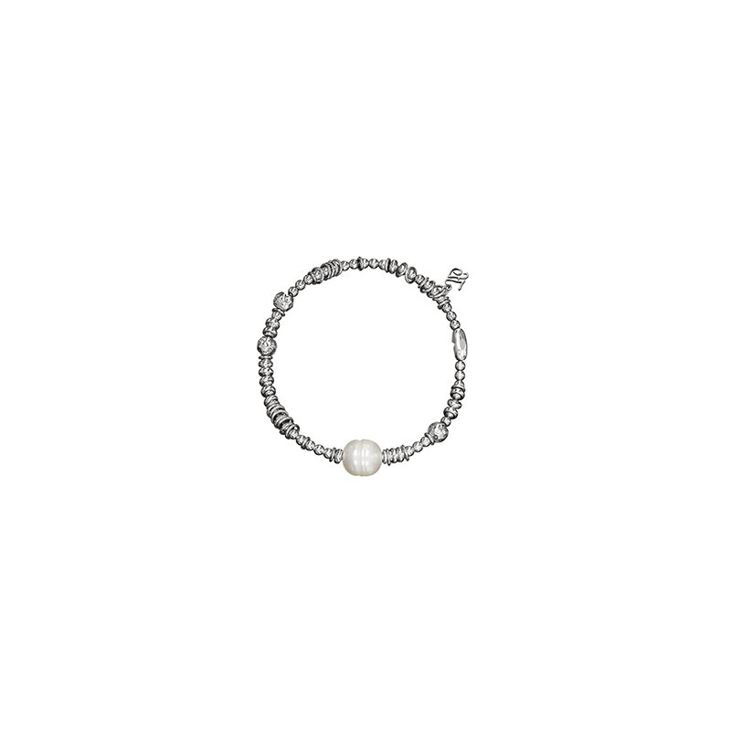 Honora Honora Sterling Silver 9-9.5mm Ringed White Freshwater Cultured Pearl Rhodium Bead Stretch Bracelet