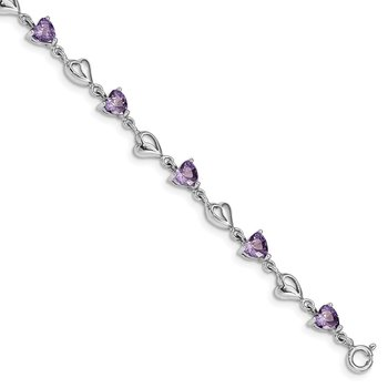 Sterling Silver Rhodium-plated w/1in ext Purple Crystal Hearts Bracelet