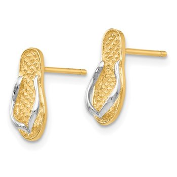 14K and Rhodium Flip Flop Earrings