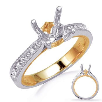 Yellow & White Diamomd Engagement Ring