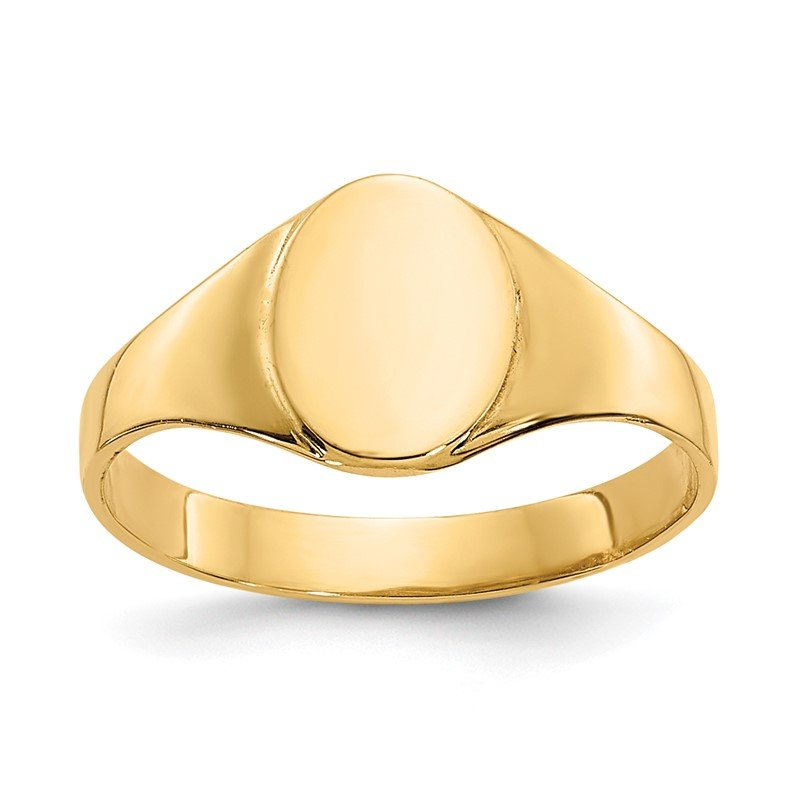 Quality Gold 14k High Polished Oval Baby Signet Ring