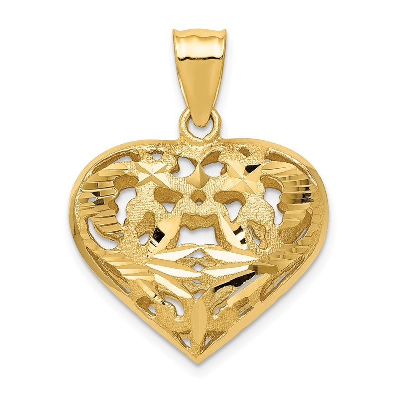 Quality Gold 14k Fancy 3D Heart Charm