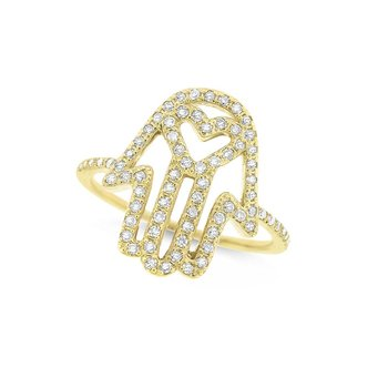 Diamond Heart in Hamsa Ring in 14K Yellow Gold with 75 Diamonds Weighing .30ct tw