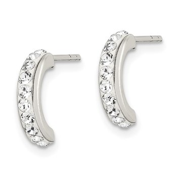 Sterling Silver Stellux Crystals J Hoop 3pc Set Earrings