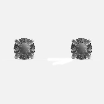 Men's Sleek Stud Pierced Earrings, Gray, Ruthenium plated