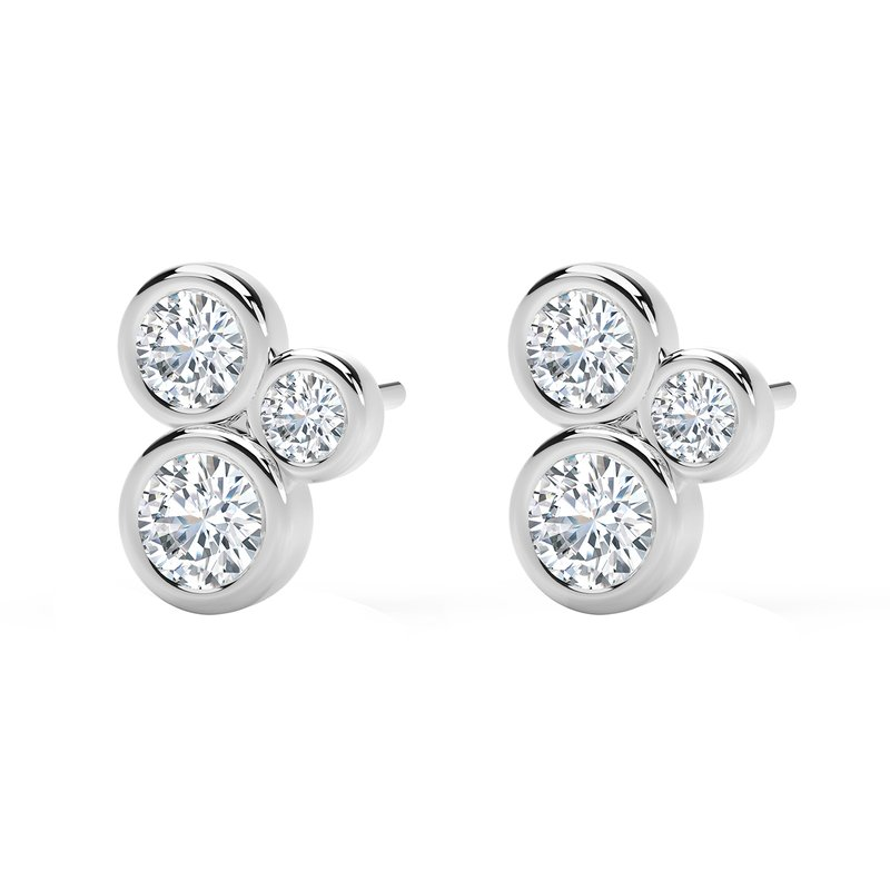 Forevermark Black Label The Forevermark Tribute™ Collection Three Stone Bezel Studs