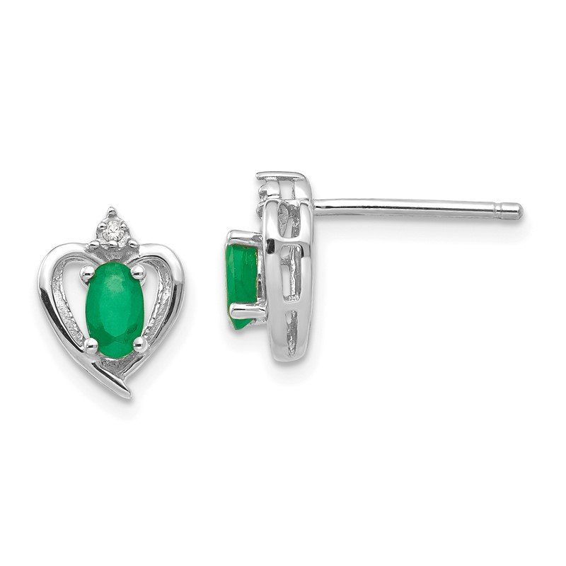 Quality Gold 14k White Gold Emerald and Diamond Heart Post Earrings