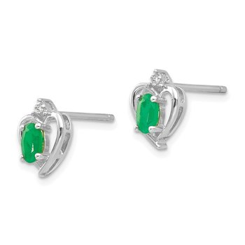 14k White Gold Emerald and Diamond Heart Post Earrings