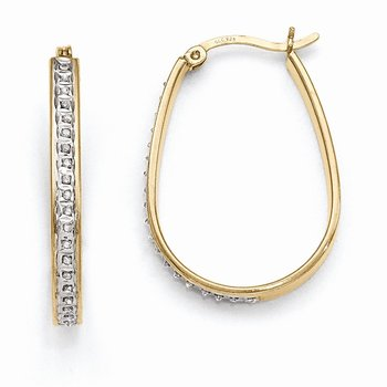 Sterling Silver & Gold-plated Diamond Mystique Pear Hoop Earrings