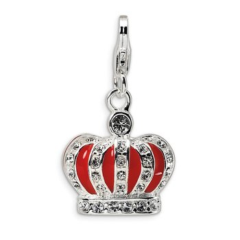Sterling Silver Swarovski Element & Red Enamel Crown w/Lobster Charm