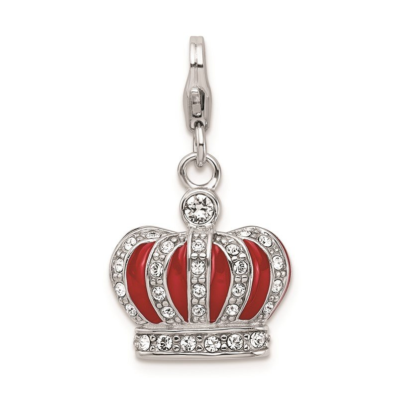 Quality Gold SS RH w/Lobster Clasp Swarovski Crystals & Red Enamel Crown Charm