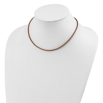 Sterling Silver 16inch 2mm Natural Leather Cord Necklace