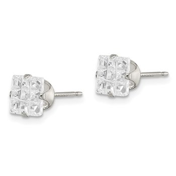 Sterling Silver 6mm Square Snap Set Laser-cut CZ Stud Earrings