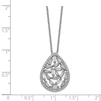 Cheryl M Sterling Silver Rhodium Plated CZ Cluster Teardrop 18in Necklace