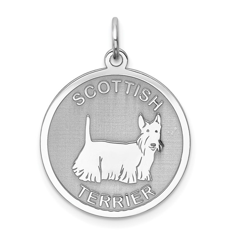 Quality Gold Sterling Silver Rhodium-plated Scottish Terrier Disc Charm
