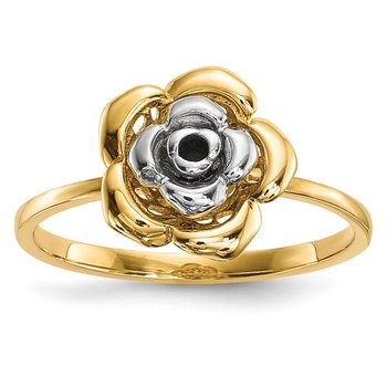 14k Two-Tone Polished Flower Ring