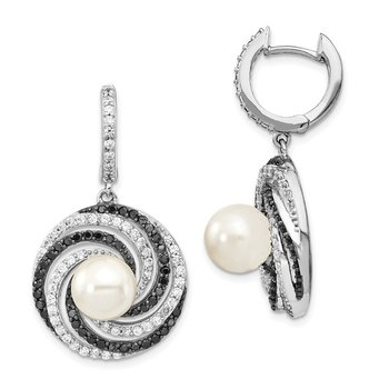 Sterling Silver Majestik Rhod-plated 8-9mm Shell Blk and Wht CZ Earrings