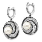 Quality Gold Sterling Silver Majestik Rhod-plated 8-9mm Shell Blk and Wht CZ Earrings