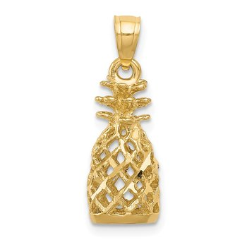 14k Diamond-cut 3D Pineapple Pendant