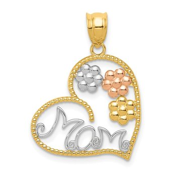 14k Tricolor MOM & Flowers Pendant