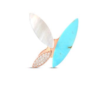 18Kt Gold Petal Ring With Diamonds, Turquoise And Mother Of Pearl