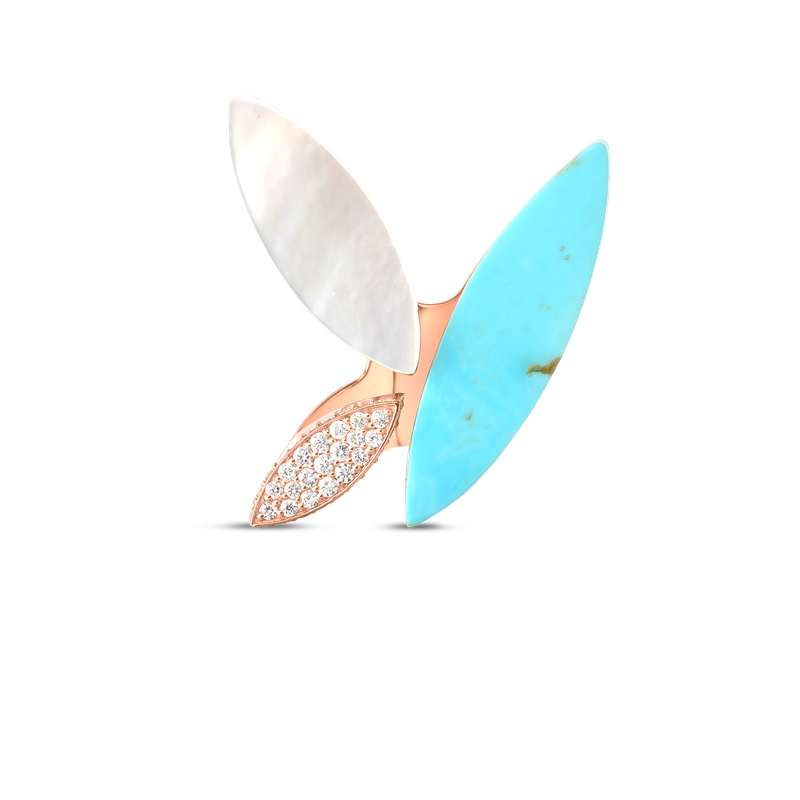 Roberto Coin 18Kt Gold Petal Ring With Diamonds, Turquoise And Mother Of Pearl