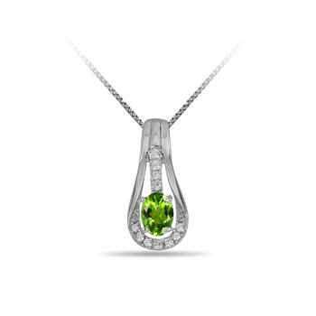 10K WG and diamond and Peridot halo style birthstone pendant
