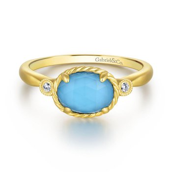 14K Yellow Gold Oval Rock Crystal Turquoise Diamond Ring