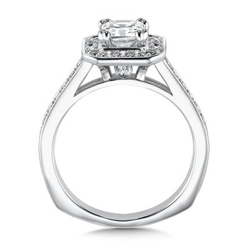 Geometric shape halo mounting  .35 ct. tw.,  1 ct. Asscher cut center.