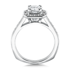 Valina Geometric shape halo mounting  .35 ct. tw.,  1 ct. Asscher cut center.